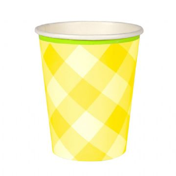 Yellow Gingham Paper Party Cups